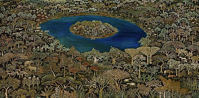 A Lake Island with Flora and Fauna