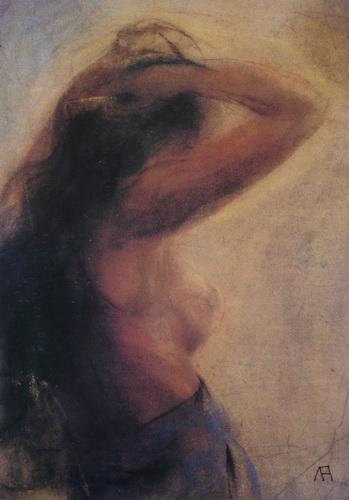 Women Combing Her Hair